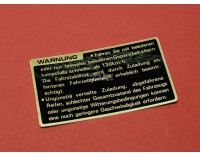 # 87560-MG9-710 Sticker in koffer voor belading GL1200