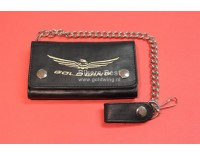 Thick leather GL1800 wallet with embroidered logo