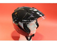 Goldwing helmet black metal with sunglasses, shield and sunvisor. XS-XXL. For sizes click on picture.