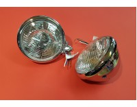 Trike lamps set chrome with E-mark with striped glass ( 20011126 )